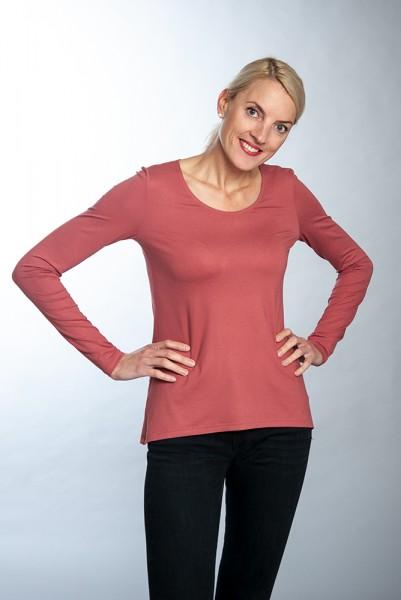 Langarm Basic Shirt mit Rundhals in zwei Farben