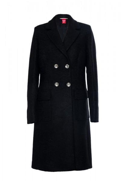 Langer Mantel mit aufgesetzten Taschen aus Bouclé Gewebe