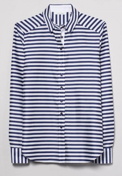 Langarm Long-Bluse mit Satinbindung