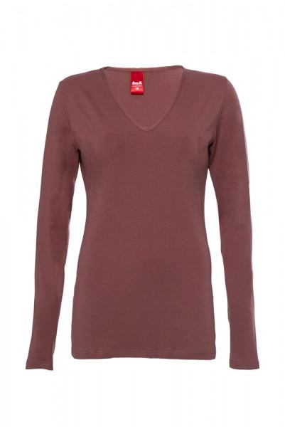 Langarm Basic T-Shirt mit V-Ausschnitt