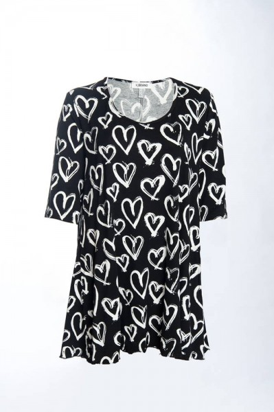 Modisches Shirt in A-Linie mit Herz Muster