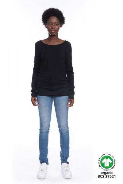 Langarm Shirt ARISTA aus 100% Bio-Baumwolle SCHW GOTS zertifiziert